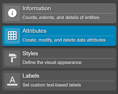 Information, attributes, styles and labels