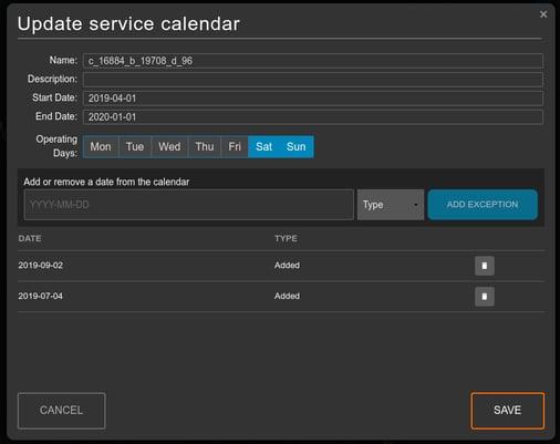 Updating the service calendar