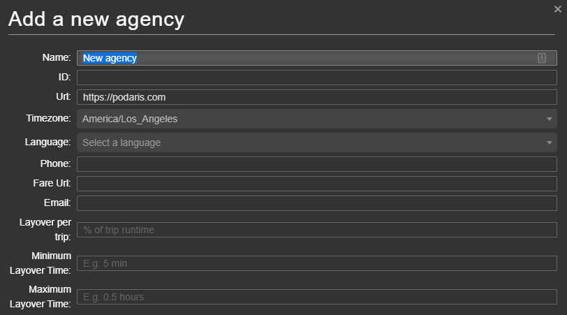 Add new agency