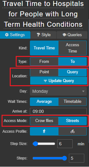 travel time to multiple locations