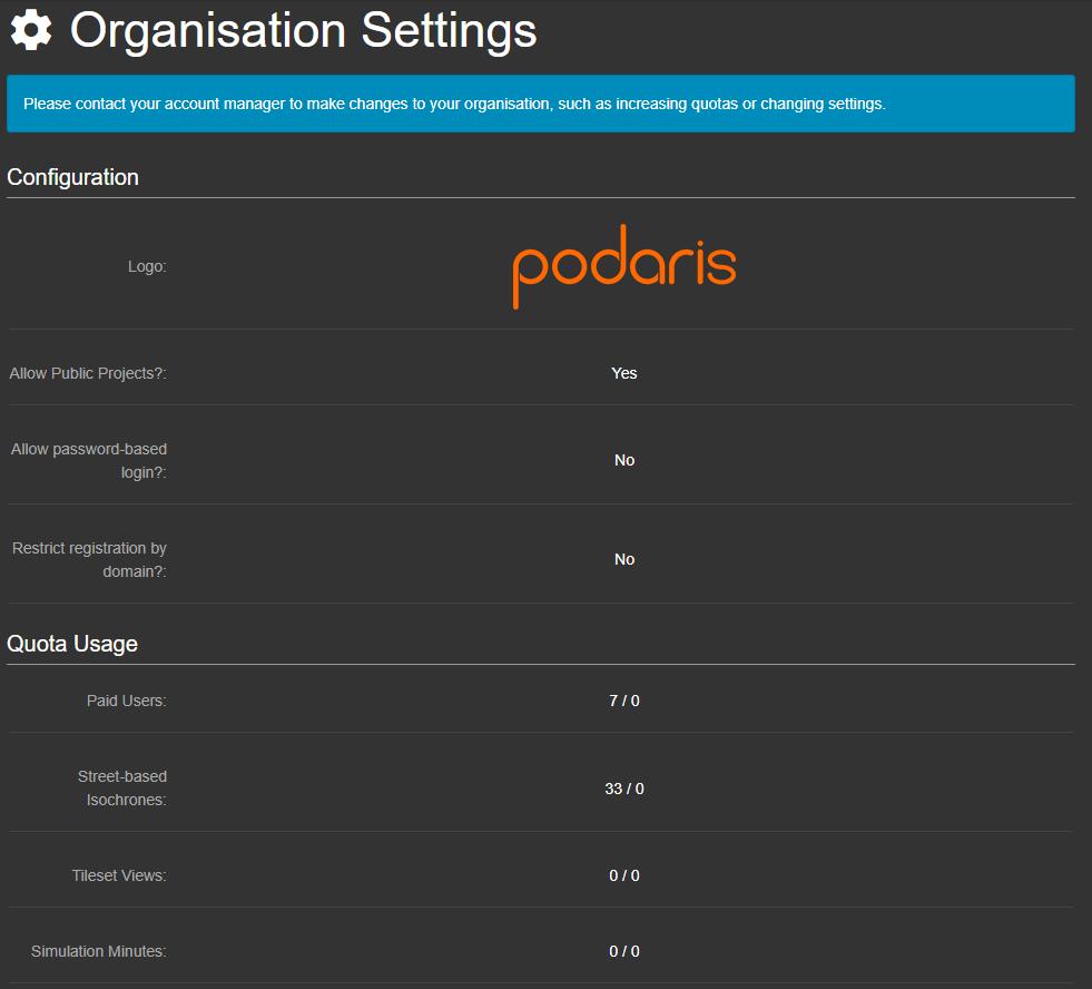Organisation Settings