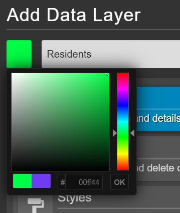Add data layer colour